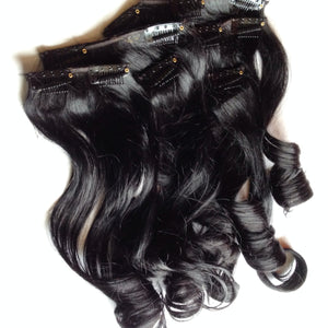 14 in Glossy Jet Black 100% Remy Human Hair Clip in or Tape Hair Extension Set