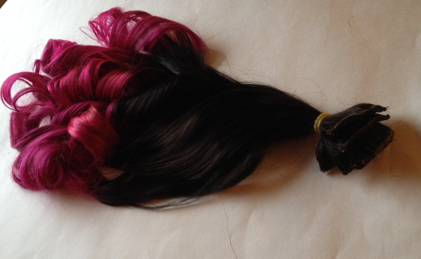 Ombre Hair Extensions Black to Hot Pink Fuchsia Clip in 100% Human Hair Remy Full Set