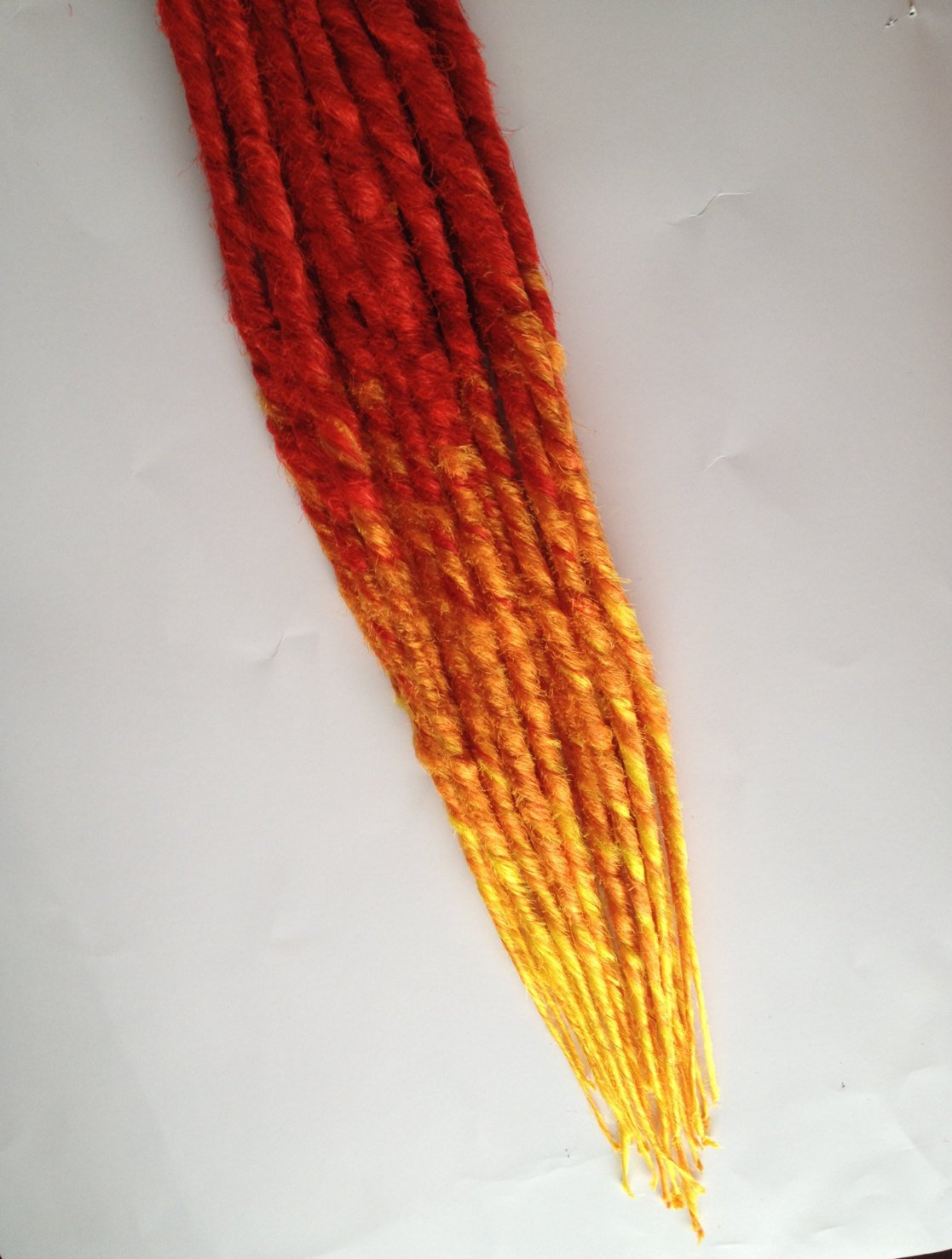 20 SE Dreads Custom Synthetic Dreadlock Hair Extensions Flame Fire Red Orange Yellow Ombre
