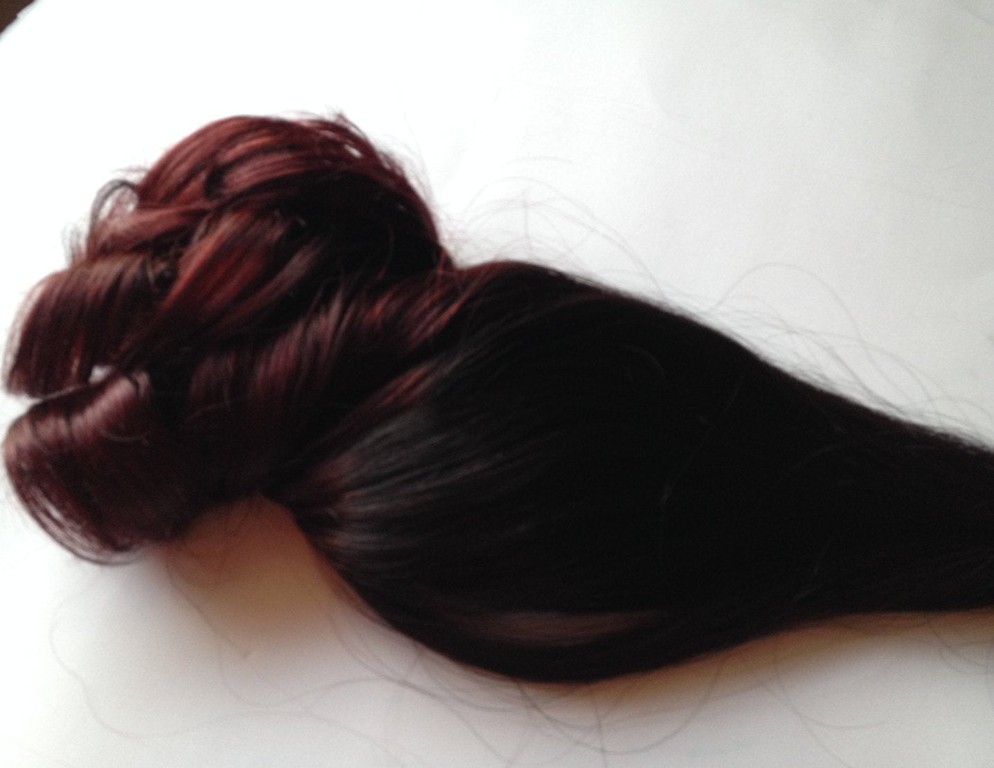 Ombre Hair Extensions Black Dark Red Mahogany Burgundy Clip in 100% Human Hair Remy