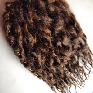 60 Wavy Synthetic Dreadlock Hair Extensions or Dread Falls Medium Natural Brown Dreads