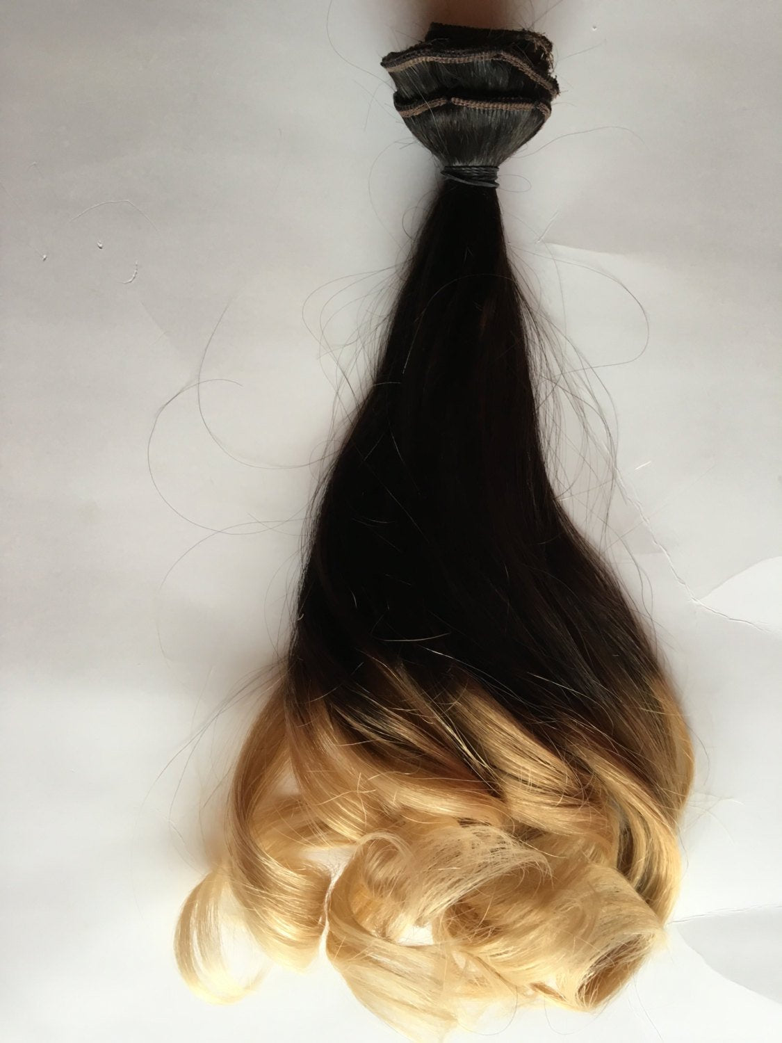 Ombre Hair Extensions Brown Black Light Blonde Clip in 100% Human Hair Remy 18 in