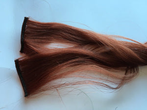 16-18 inch Human Hair Extensions Auburn Copper Red Ombre Dip Dye Fade Clip inTape