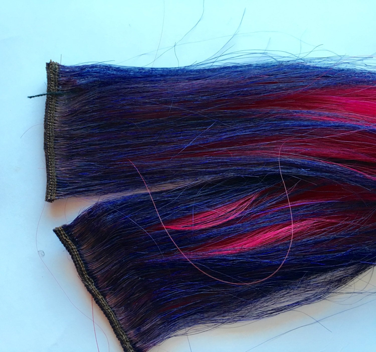 12-14 inch 100% Human Hair Extensions Ombre Deep Purple and Hot Pink Fuchsia Clip in or Tape style