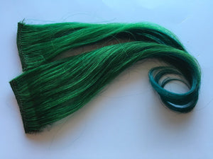 12-14 inch 100% Human Hair Extensions Ombre Emerald Green Teal Turquoise Blue Clip in or Tape
