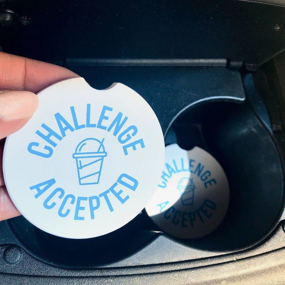 Challenge Accepted Car Coasters (2 pk) - Drinkware