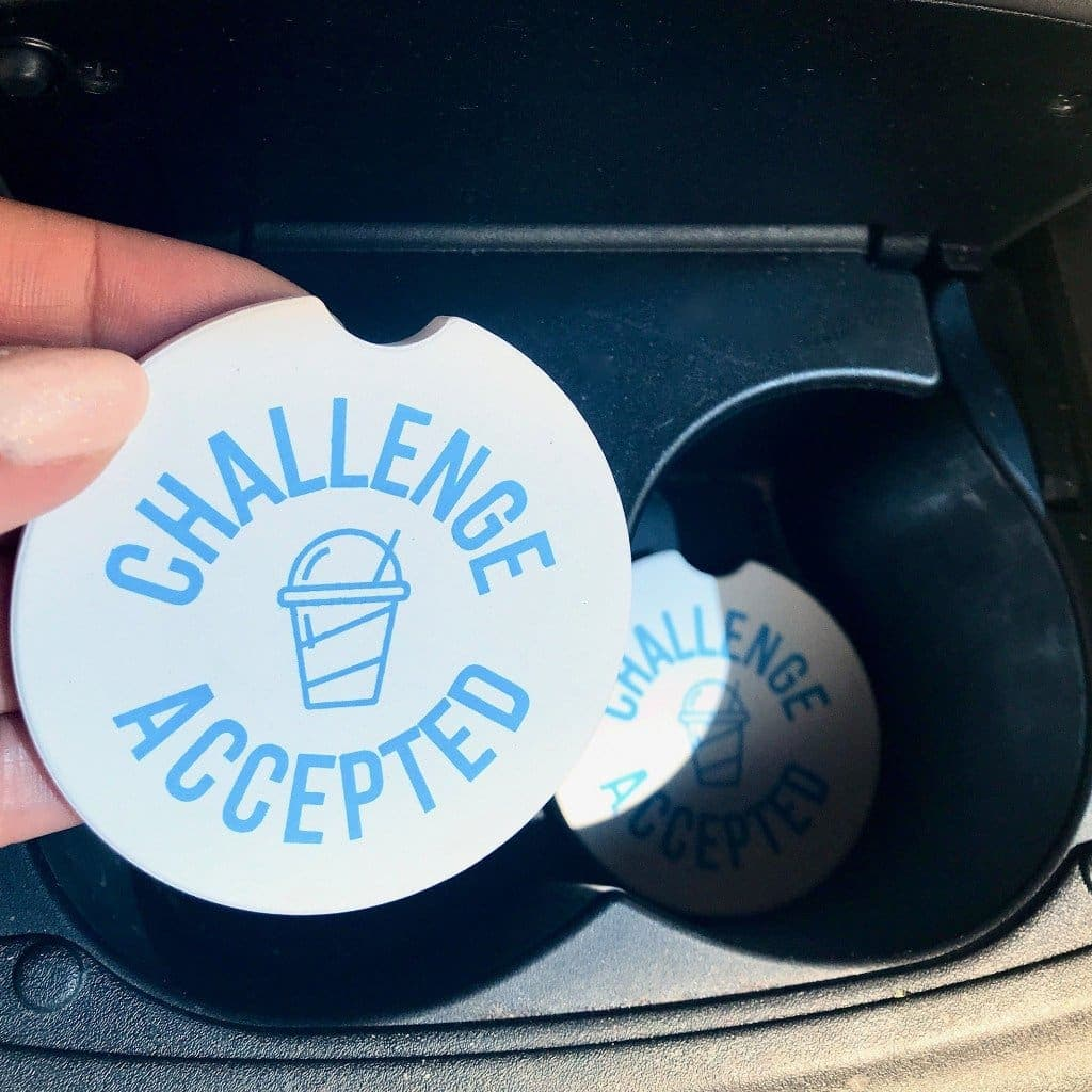 Challenge Accepted Car Coasters (2 pk)