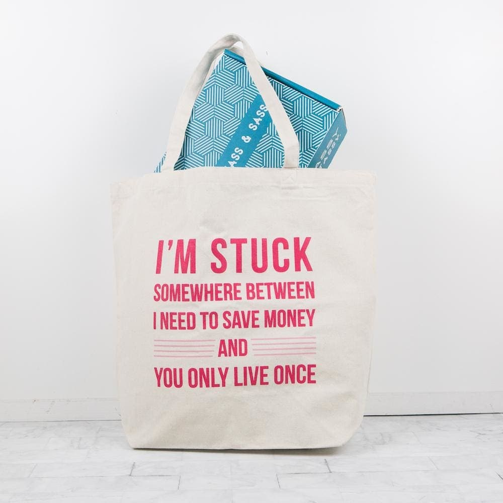 Save Money or YOLO Oversized Tote - Totes & Bags