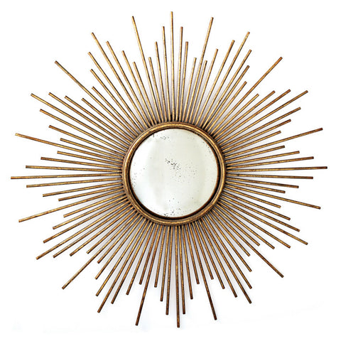 Picture of Sunburst Antiqued Gold Wall Mirror