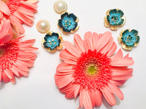 The Pink Reef emerald and blue hand formed hand painted floral with puff pearl
