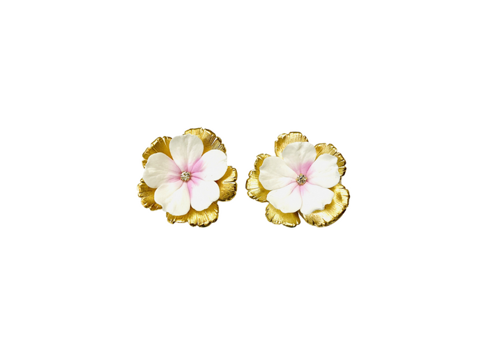 The Pink Reef hand formed floral stud