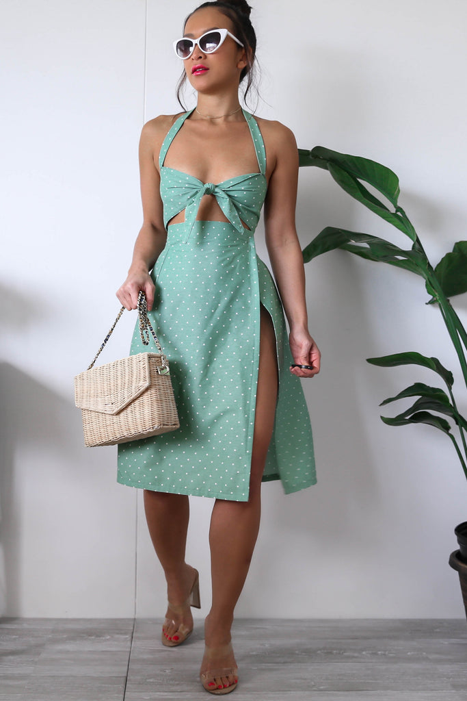 Green and White Polka Dots Bralette Top + Midi Skirt with Side Slit