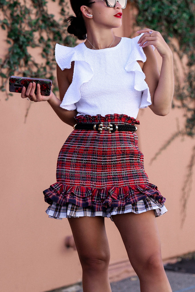 Plaid Ruffles Mini Skirt by Endless Rose