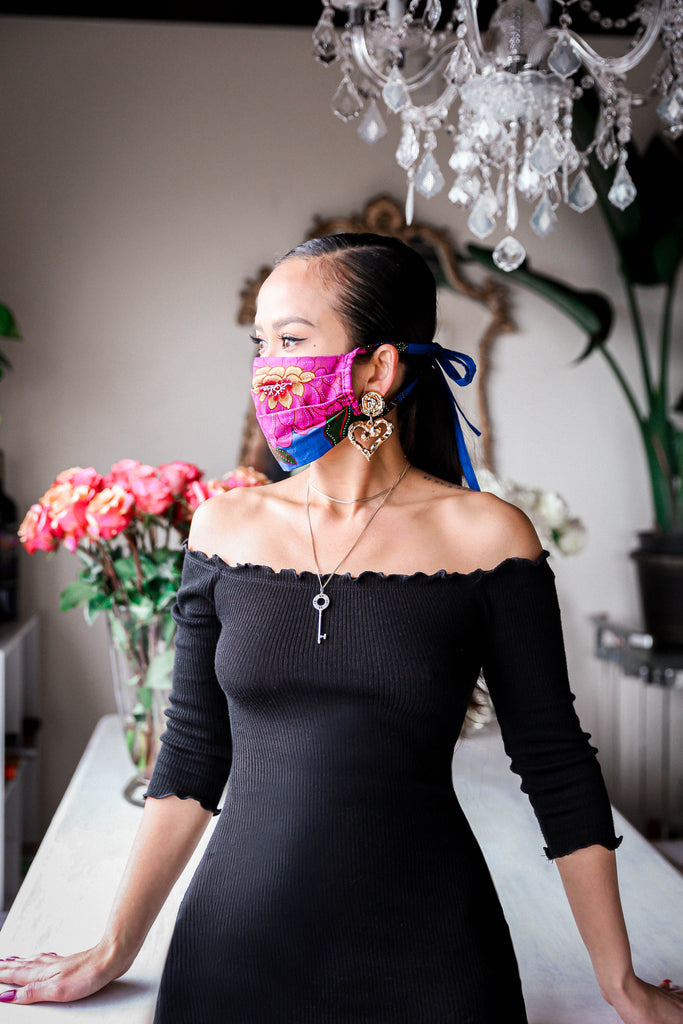 Floral Face Mask with String Ties - ALL PROCEEDS WILL GO TO MEALS ON WHEELS AMERICA