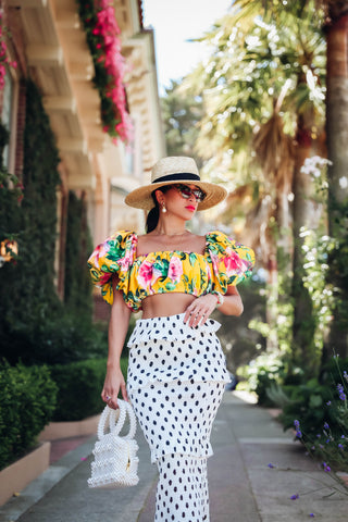 * MADE TO ORDER: Garden of Flowers Crop Top with Balloon Puffy Sleeves