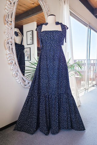 * MADE TO ORDER: Jet Set Maxi Dress with Ruffles Hem in Polka Dots