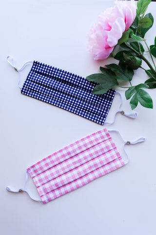 Gingham Face Mask with Adjustable Ear Loops