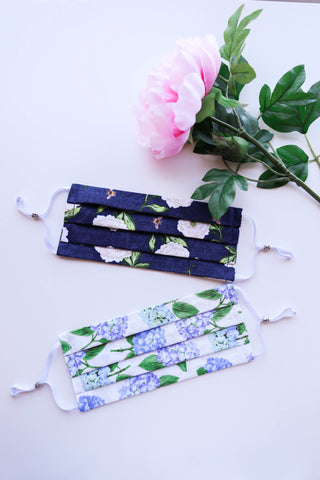 Hydrangeas Floral Face Mask with Adjustable Ear Loops