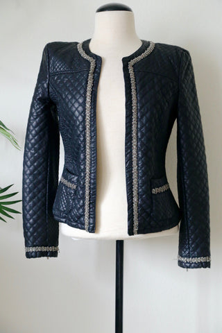 Black Quilted Blazer with Silver Embellishments