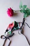 Bouquet of Rose in White Face Mask with String Ties