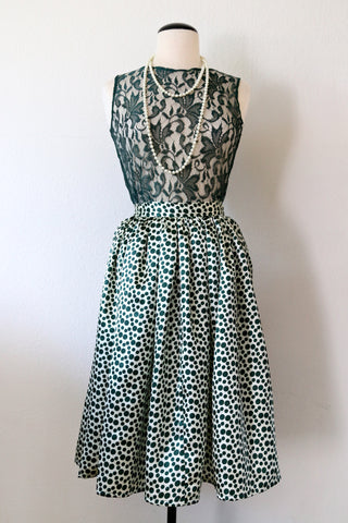 * MADE TO ORDER: Polka Dots Midi Skirt in Green