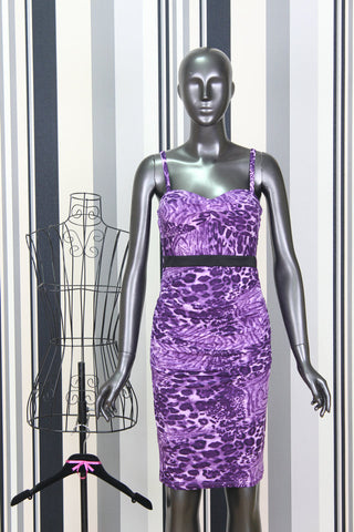 KTR Purple Leopard Print Midi Bodycon Dress
