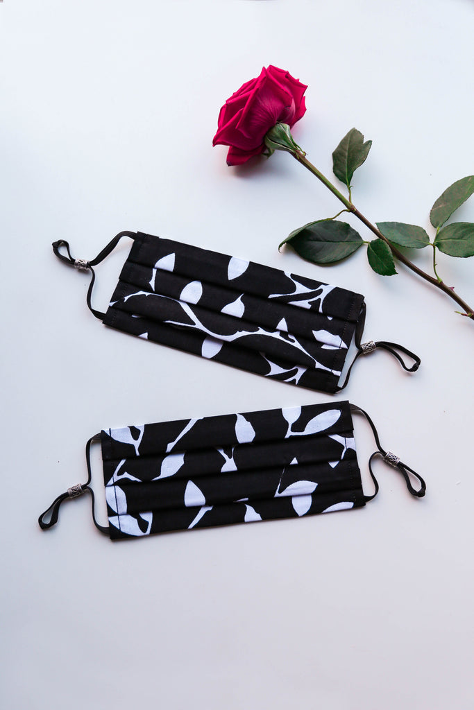 Leaf Print Face Mask (Black/White) with Adjustable Ear Loops