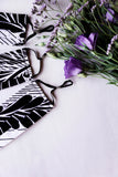 Stripin' Palm Leaves Floral Face Mask (Black/White) with Adjustable Ear Loops