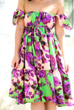KTR Floral Ruffles Dress with  Off the Shoulders Sleeves