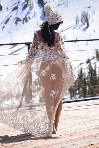 Floral Embroidered Swim Cover-Up Maxi Dress