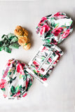 * MADE TO ORDER: Vintage Rose Crop Top with Puffy Balloon Sleeves
