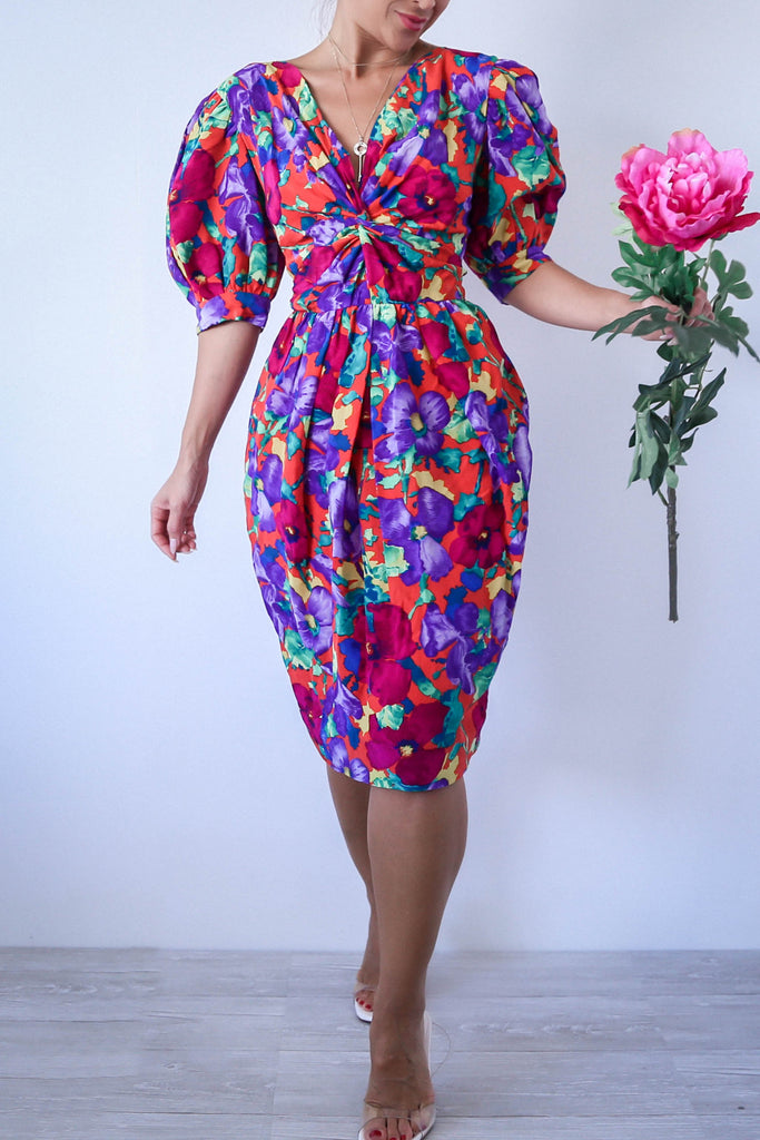 80s Vintage ALBERT NIPON Dress with Puff Sleeves and Front Knit Twist
