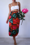 Vintage RAUL BLANCO Abstract Geometric Print Midi Pencil Skirt