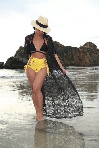 * MADE TO ORDER:  BeeHive Two Piece Lace Up Retro Swimsuit