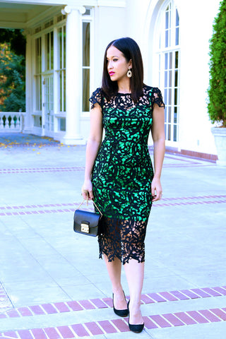KTR Black Crochet Dress