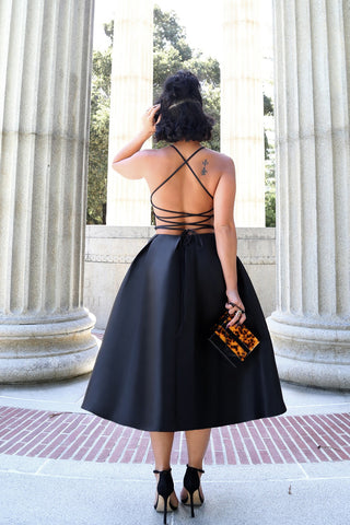 Lace Me Up Full Dress in Black