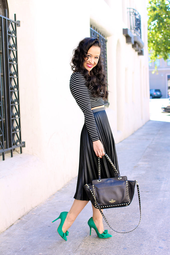H&M Pleated Leather Black Midi Skirt
