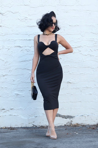 Seal With A Twist Bodycon Midi Dress