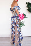 KTR Blue Floral Embroidery Lace Maxi Dress