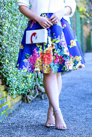 Forget-Me-Not Floral Skirt in Blue