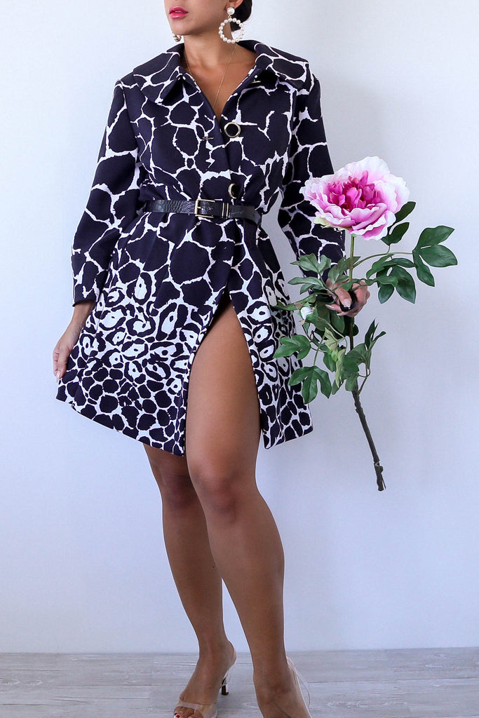 Black and White Giraffe Animal Print Coat