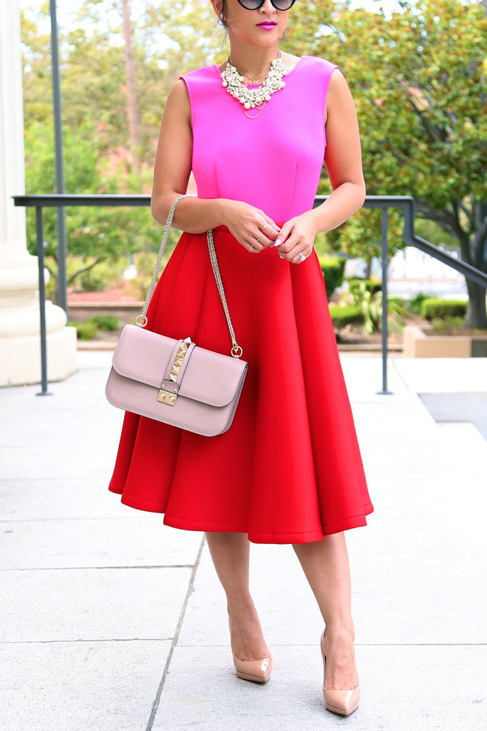 Colorblock Pink/Red Full Dress