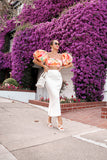 * MADE TO ORDER: Tangerine Floral Crop Top with Puffy Balloon Sleeves