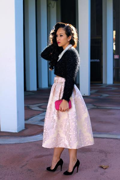 KTR Damask Bow Midi Skirt