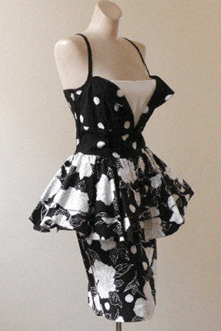 Vintage Robbie Bee Floral Polka Dot Peplum Dress