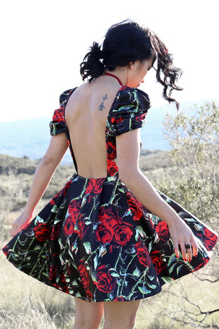 Endless Red Rose Dress in Black