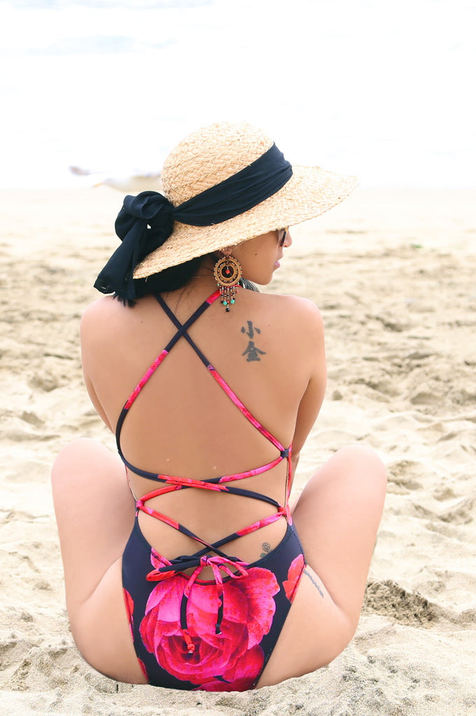 * MADE TO ORDER: One Piece Lace Up Back Swimsuit