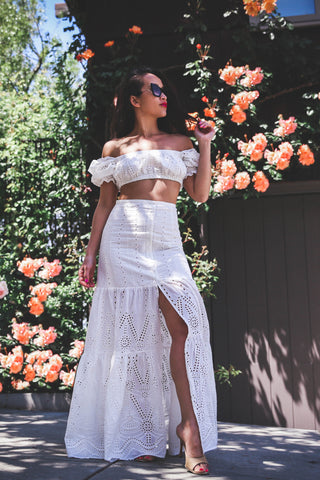 PRE ORDER: Eyelet Summer Off The Shoulder Top and Maxi Skirt Set