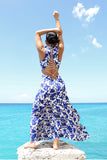 Forever 21 Nightwalker Blue and White Floral Maxi Dress with Lace Up Open Back