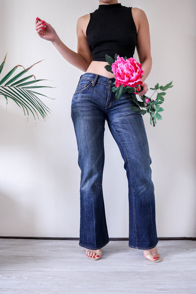7 For All Mankind Low Rise Flare Denim Jeans